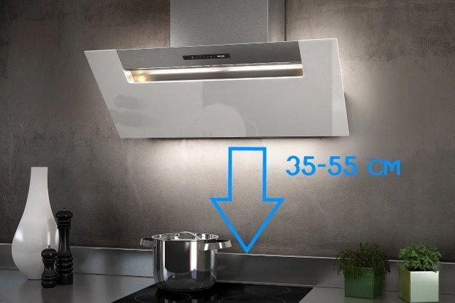 На какой высоте вешать вытяжку над плитой на кухне?