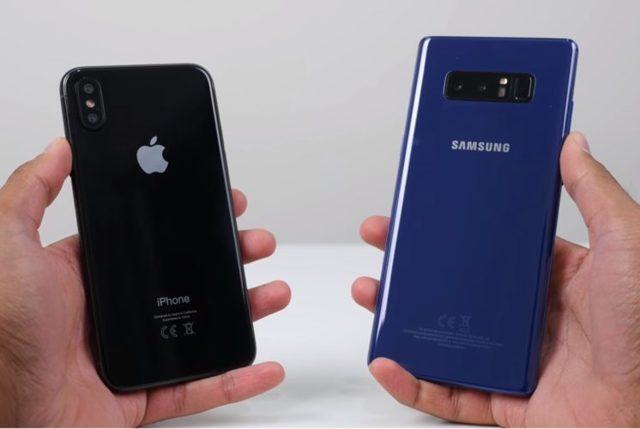iphone 8 и samsung galaxy note 8 испытали на прочность